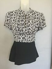 ANTHROPOLOGIE Girls from Savoy Peplum Style Blouse with Zip Front - Size 4