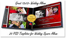 Photoshop Templates for Weddings PSD,Album ,DVD Covers,Invitations Red  V2