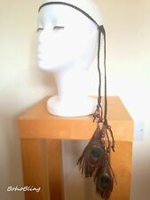 Hair Band Peacock Feathers Boho Chic Hippie Festival Gypsy Tribal Bohemian UK