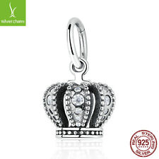European Christmas 925 Sterling SILVER PENDANT WITH CUBIC ZIRCONIA Crown Charms