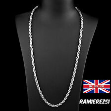 UK 925 silver rope twist bling hip hop curb mens chain necklace 30 inches 4mm
