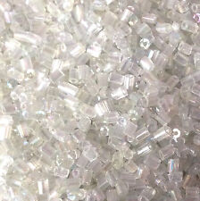 50g Vidrio Hexagonal Seed Beads-Transparente Transparente lustered Tamaño 11/0 Aprox 2 Mm 2-cut