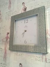Silver Striped Glitter Frame Mirror Sparkle Square Wall Clock Brand New