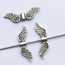 20pcs Alloy Antique Silver Wing Beads Jewelry DIY Making Craft @