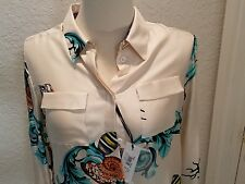 VERSACE Women's Off White Silk Printed Shell Pattern Size Large/46 NWT $450
