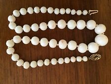 Angel Skin Blush White Coral Vintage Necklace 9K Gold Clasp 15mm Large Bead,Deco