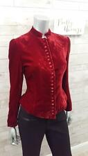 New J Peterman Burgundy Velvet Edwardian Button Riding Jacket Tailored Size 4