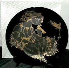 BJORN WIINBLAD ROSENTHAL BLACK GOLD WALL CHARGER SPRING MAIDEN BIRDS MID CENTURY