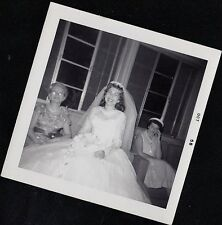 Vintage Antique Photograph Wedding Beautiful Bride Sitting With Women 1958