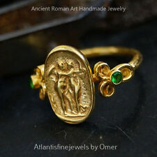 Roman Art Handforged Chrome Diopside Coin Ring By Omer 24k Gold Over 925k Silver