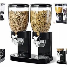 DOUBLE SIZE DRY FOOD CEREAL DISPENSER KITCHEN STORAGE TWIN CONTAINER MACHINE