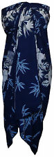 Sarong Women Bamboo Tree Printed Beach Swimsuit Wrap Plus Size Pareo Blue