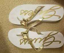 WOMEN'S GUESS FLIP FLOP WEDGE SANDALS GOLD RHINESTONES  size 9