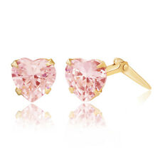 9ct yellow gold 5mm pink heart cubic zirconia Andralok stud earrings / Gift box
