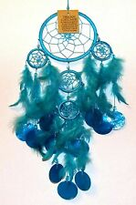 BEAUTIFUL 11.5cm TURQUOISE 5 WEB DREAMCATCHER WITH FEATHERS & SHELL DISCS**