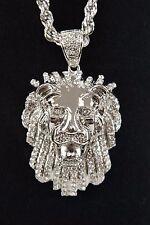 "Men's Hip Hop Gold Plated Lion Head 30"" 5mm Rope Chain Pendant Necklace Set"