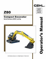 New GEHL Z80 Compact Excavator Owners Operators Manual 50940099 2014 FREE S&H