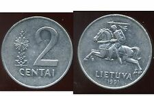 LITHUANIA LITUANIE 2 centai 1991  ( it )