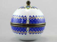 A smart Steinbock brass and enamel lidded pot. Austrian. White, blue, gold.