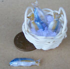 1:12 Scale 4 Fish In A Basket (c) + Ice Dolls House Mini Shop Food Accessory I