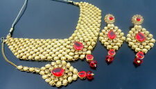 RED LCT KUNDAN GOLD TONE NECKLACE SET BOLLYWOOD BRIDAL PARTY WEAR JEWELRY (270)