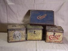 Antique Vintage Cinco Tobacco Lunchbox Style Tin w/ Hinge Clasp Handle Humidor