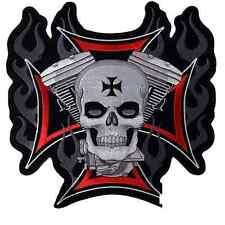 Patch écusson Biker Croix de Malte Skull V-Twin - Taille - Petit Format