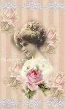 Fabric Block Vintage Altered Postcard Victorian Lady Pink Roses ~Chic & Shabby~