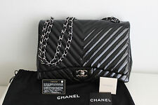 "AUTH NEW CHANEL MAXI BLACK PATENT LEATHER ""CHEVRON"" FLAP BAG SILVER HARDWARE"
