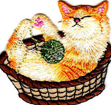 CATS--Cat in Basket w/Ball of Yarn - Iron  On Embroidered Applique/Animals, Pets