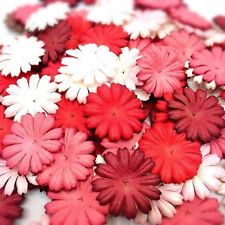 100 Mixed Red Tone & White Daisy Flowers mulberry paper for Craft & D.I.Y