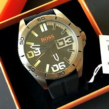 Hugo Boss Orange Black Silicone Strap Gunmetal Tone Wrist Watch 1513287 NWT Box