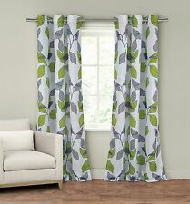 "Set of Two (2) Window Curtain Panels: 110"" x 84"", Grommets, Gray and Green Leaf"