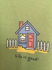 "LIFE IS GOOD WOMENS Dark Green ""House"" 100% cotton t-shirt size L NWOT"