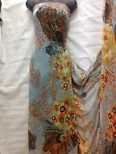 Designer Chiffon  Large Feathers Print Grey /orange Wedding Light