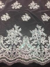 "WHITE MESH W/ COREDED FLORAL MULTI SEQUINS BRIDAL LACE FABRIC 50""  WIDE 1 YD"