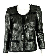 ISABEL MARANT Metallic Gunmetal Quilted Jacquard BLODY Military Jacket 38