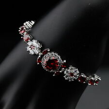 925 Genuine Silver, Red Garnet White Topaz  11ct Adjustable Tennis Bracelet 7-8""
