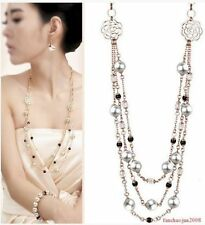 Fashion Crystal Pearl metal long necklace
