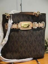 MICHAEL KORS HAMILTON LARGE CROSSBODY BAG $198 BROWN PVC SIGNATURE MK GOLD NEW