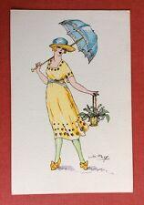 CPA. Illustrateur S. PAVY. Silhouettes Porte Bonheur. Jeune Femme. Ombrelle.