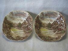 Pair (2) Johnson Brothers Olde English Countryside 7 1/8 Inch Square Soup Bowls