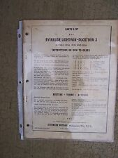 1959 Evinrude Lightwin Ducktwin 3 HP Outboard Motor Parts List 3030 3031 3032  U