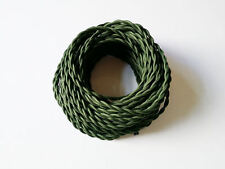 Army Green Braided Woven Silk Fabric Lamp Cable Wire Cord Light Electric Flex