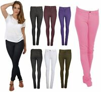 Women Ladies NEW Stretch Jeggings Pants Coloured Skinny Jeans Pocket Fit