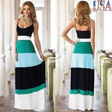 USA Women Summer Boho Long Maxi Evening Party Dress Beach Dresses Lady Sundress