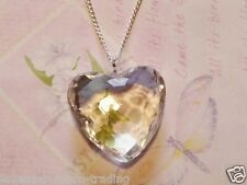 "LARGE FACETED CRYSTAL HEART PENDANT/NECKLACE with 18"" CHAIN - LOVELY JEWELLERY"