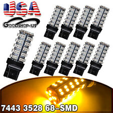 10x Amber/Yellow 7443/7440/T20 68smd Turn Signal Tail Brake Stop LED Light Bulbs