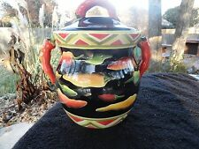 Clay Art Caliente Yellow Green Red Peppers Black Figurine Cookie Jar and Lid