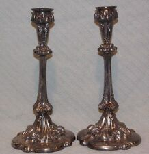 Vintage Pair 1831 Homan Mfg Co Quadruple Silver Plate Tall Candlesticks Holders